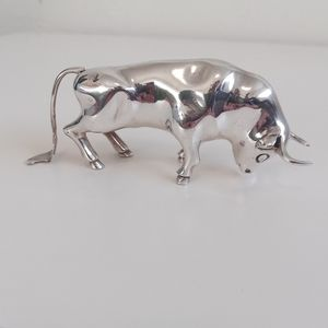 Solid Sterling Silver Bull Sculpture